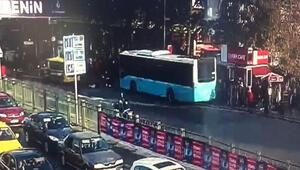Beşiktaş'ta otobüs durağa böyle daldı... Dehşet anları ortaya çıktı