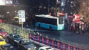 Beşiktaşta otobüs durağa böyle daldı