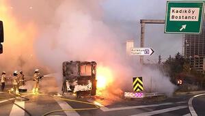TEMde otobüs yandı