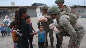 Teröristlerden temizlenen Tel Abyad ve Resulayna insani yardım