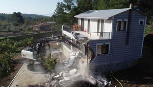 Bucada, orman alanındaki 4 kaçak yapı yıkıldı