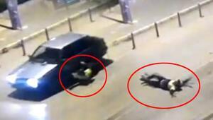 İzmirde şoke eden görüntü Polisi aracın kaputunda sürükledi