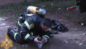 İtfaiye eri, dumandan etkilenen kediyi böyle kurtardı