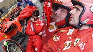 Formula 1de Ferrariden akılalmaz hata Vettel ile Leclerc...