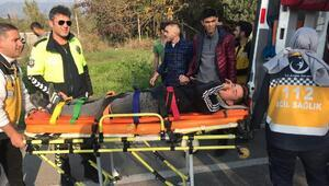 Çukura giren motosiklet devrildi: 1 yaralı