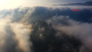 Sisli havada Karahisar Kalesi manzarası büyüledi