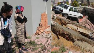 Samsunda bir binanın istinat duvarı çöktü