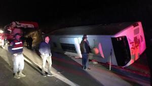 Osmaniyede yolcu otobüsü devrildi... Çok sayıda yaralı var