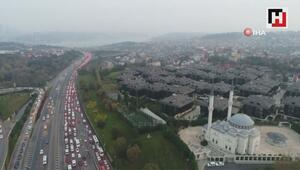15 Temmuz Şehitler köprüsü trafik yoğunluğu drone ile görüntülendi