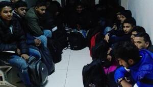 Polis aracına çarpan minibüste 24 kaçak göçmen yakalandı