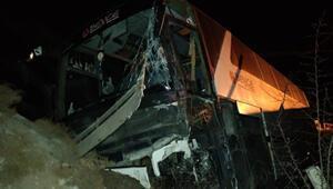 Bursaspor taraftarlarını taşıyan otobüs kaza yaptı 15 yaralı...