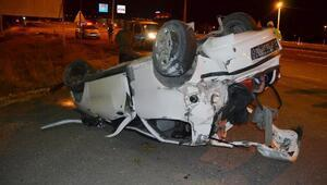 Aksaray'da otomobil devrildi: 1 ağır 3 yaralı