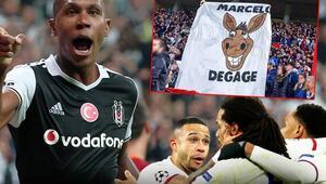 Eski Beşiktaşlı Marceloya çirkin saldırı Lyonlu futbolcular tribüne koştu