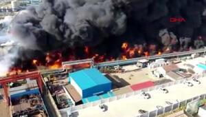 Çinde fabrikada dev yangın uçaktan böyle görüntülendi