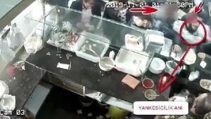 Lokantada yankesicilik yapan şüpheli, kameradan yakalandı