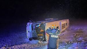 Son dakika: Kayseride yolcu otobüsü devrildi: 23 kişi yaralandı