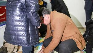 Hacılarda 250 ihtiyaç sahibi öğrenciye mont ve kışlık ayakkabı