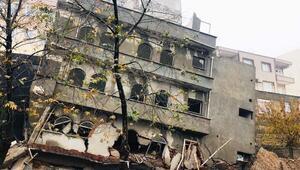Besnide 4 katlı bina yağmur nedeniyle çöktü