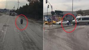 Kamyondan fırlayan tekerlek trafikte onlarca metre böyle gitti