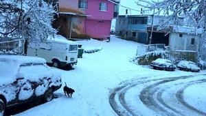 Turgutlu'nun yüksek kesimlerindeki kırsal mahaller beyaza büründü