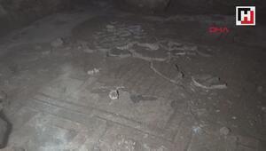 İnşaat kazısında insan ve hayvan figürlü mozaik bulundu