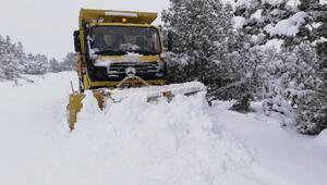 Afyonkarahisarda köy yollarında karla mücadele