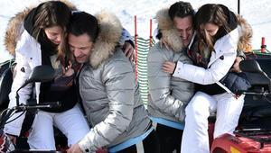 Ünlü çift soluğu Kartalkaya'da aldı Kırık ayakla kar tatili