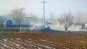 Otomobilin direğe çarptığı kaza, güvenlik kamerasında