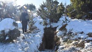 Define için tünel kazan şüphelileri kaymakamın dikkati yakalattı Kardaki ayak izlerini takip etmiş