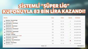 Efsane Süper Lig iddaa kuponu Sistemli oynadı, 83 bin lira kazandı...