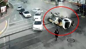 Korkunç kaza Vinç metrelerce sürüklendi...