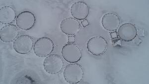 Zernek Barajının yüzeyi buz tuttu