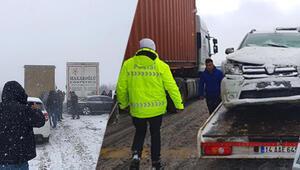 Son dakika haberi: Karayolunda zincirleme kaza 8 kilometrelik kuyruk oluştu