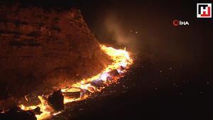 Yüksek gerilim hattından kaynaklı orman yangını çıktı