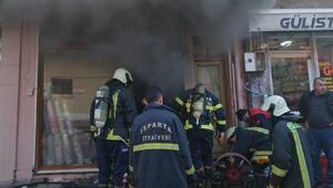 Çeyiz mağazasında korkutan yangın