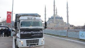 Edirneden Elazığa bir kamyon dolusu  yardım malzemesi gönderildi