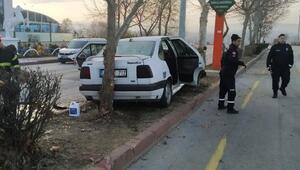 Kontrolden çıkan otomobil aydınlatma direğine çarptı: 2 yaralı