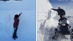 O ilçede ilginç görüntü Kar kalınlığı 3 metreyi buldu...