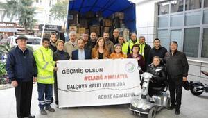 Balçovanın yardım malzemeleri Malatyaya ulaştı