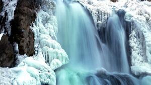 Vanda doğa harikası Muradiye Şelalesi kısmen dondu