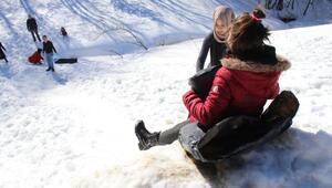 Domaniçin karlı dağlarında kar keyfi