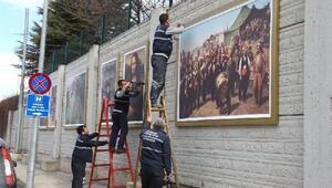 Eskişehir'de istinat duvarları dünyaca ünlü tablolarla süslendi