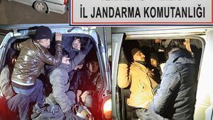 Panelvan minibüste balık istifi 27 kaçak göçmen