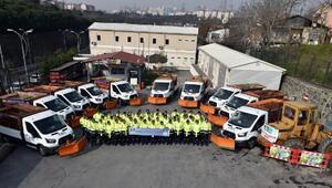 İstanbulda beklenen kar yağışı için Beşiktaş'ta ekipler hazır bekliyor