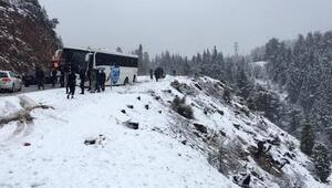 Otobüs uçuruma metreler kala durdu Yolcular büyük panik yaşadı