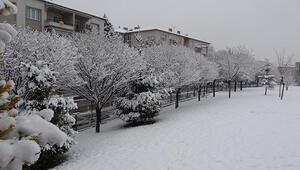 Uşak kent merkezine mevsimin ilk karı yağdı