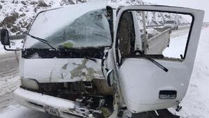 Yoldan çıkan kamyonet refüje çarptı