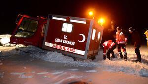 4 metre karda hasta kurtarma operasyonu