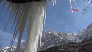 Soğuktan köy buza döndü, şelaleler dondu