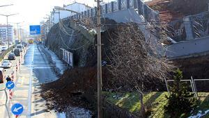 Trabzonda istinat duvarı çöktü